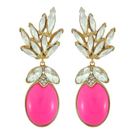 Ciner for Sophie Peony Pink Crystal Leaf Drop Earrings
