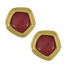 Vintage Avon Ruby Pentagon Earrings