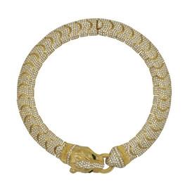 Ciner Crystal Black Gold Panther Head Link Necklace