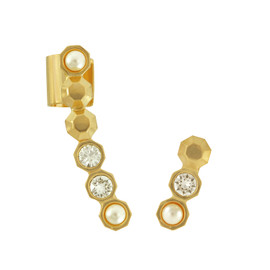 MFP Crystal Pearl Gold Ear Cuff Set