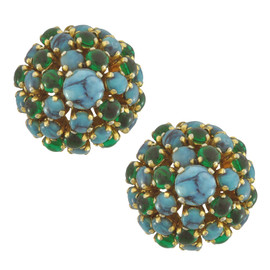 Vintage Christian Dior Turquoise Cabochon Earrings