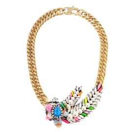 Shourouk Pimp Aigrette Crystal Sequin Necklace