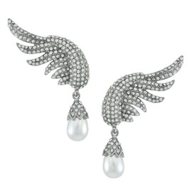 Pink Pave Large Silver Angel Wing Pearl Drop Earrings