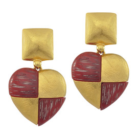 Vintage Yves Saint Laurent Chequered Wooden Heart Earrings