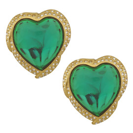 Vintage Yves Saint Laurent Green Heart Earrings