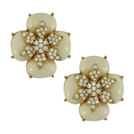 Ciner for Sophie Cream Latte Crystal Flower Earrings