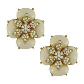 Ciner for Sophie Cream Latte Crystal Flower Earrings