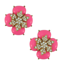 Ciner for Sophie Peony Pink Crystal Flower Earrings
