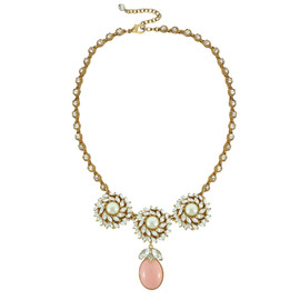 Ciner for Sophie Mini Pink Blush Crystal Flower Necklace