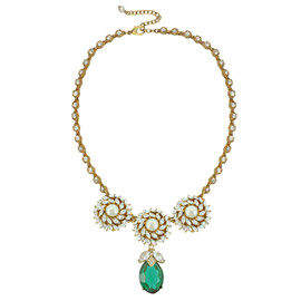 Ciner for Sophie Mini Emerald Crystal Flower Necklace