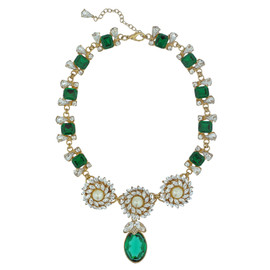Ciner for Sophie Ornate Emerald Crystal Flower Necklace