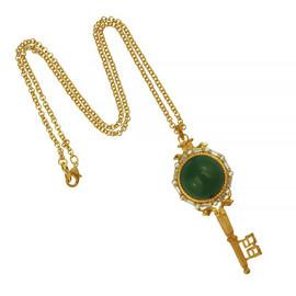Kenneth Jay Lane Antique Gold Jade Key Pendant Necklace