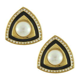 Vintage Christian Dior Triangle Art Deco Pearl Earrings