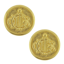 Vintage Christian Dior Jumbo Gold Ornate Button Earrings