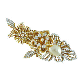 Miriam Haskell Couture Pearl Crystal Leaf Brooch