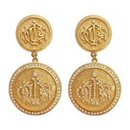 Vintage Christian Dior Coin Crystal Earrings