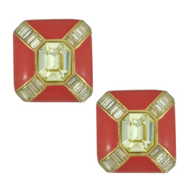 Vintage Ciner Red Crystal Square Earrings