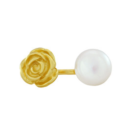 LeiVanKash Gold Rose Pearl Ring