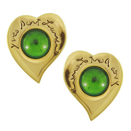 Vintage Yves Saint Laurent Emerald Heart Button Earrings