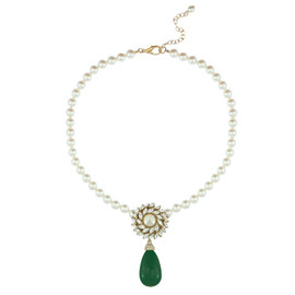 Ciner for Sophie Teal Green Pearl Flower Necklace