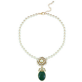 Ciner for Sophie Pearl Palm Green Crystal Flower Necklace