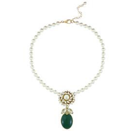 Ciner for Sophie Pearl Palm Green Crystal Flower Necklace