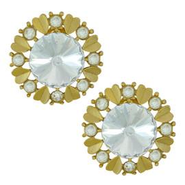 Vintage Crystal Heart Flower Earrings