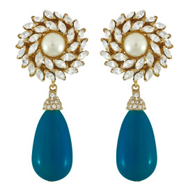 Ciner for Sophie Cerulean Blue Flower Drop Earrings