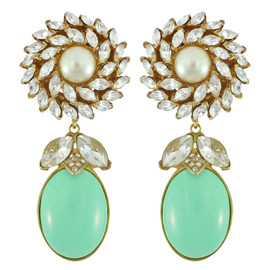 Ciner for Sophie Mint Green Daisy Earrings