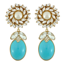 Ciner for Sophie Aqua Blue Daisy Earrings