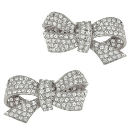 Ciner Silver Crystal Bow Earrings