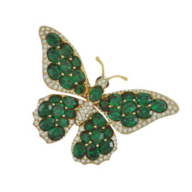 Ciner Emerald Butterfly Brooch