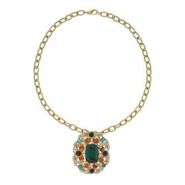 Ciner Emerald Mogal Brooch Necklace