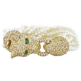 Ciner Pearl Panther Head Bracelet