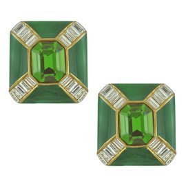 Ciner Emerald Baguette Deco Earrings