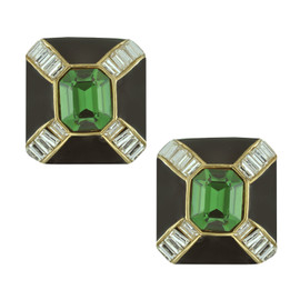 Ciner Jet Emerald Baguette Deco Earrings