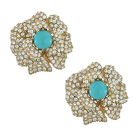 Ciner Lana Turquoise Crystal Flower Earrings