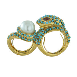 Kenneth Jay Lane Turquoise Snake Double Ring