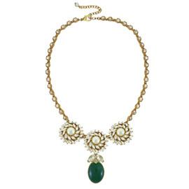Ciner for Sophie Mini Palm Green Crystal Flower Necklace