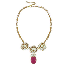 Ciner for Sophie Mini Berry Crystal Flower Necklace