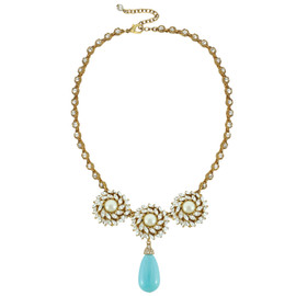 Ciner for Sophie Aqua Blue Crystal Flower Necklace