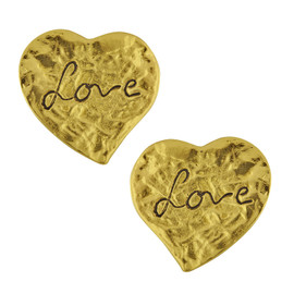 Vintage Yves Saint Laurent Textured Love Heart Earrings