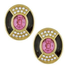 Vintage Christian Dior Monochrome Pink Deco Earrings