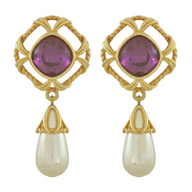 Vintage Swarovski Amethyst Pearl Drop Earrings