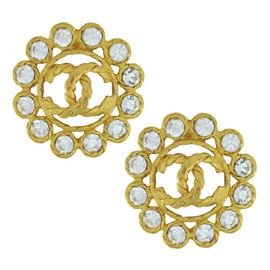 Vintage Chanel Crystal Flower Logo Earrings