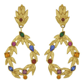 Vintage Yves Saint Laurent Gold Leaves Gem Earrings