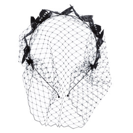 LELET NY Black Butterfly Veil Headband