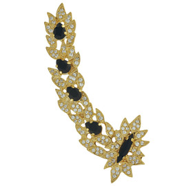 Joanna Laura Constantine Crystal Jet Leaves Ear Cuff