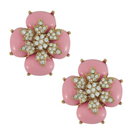 Ciner Baby Pink Cabochon Flower Earrings