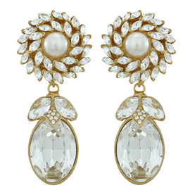 Ciner for Sophie Crystal Pearl Drop Earrings